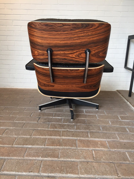 eames style top grain black aniline leather lounge chair and ottoman santos palisander wood veneers not herman miller