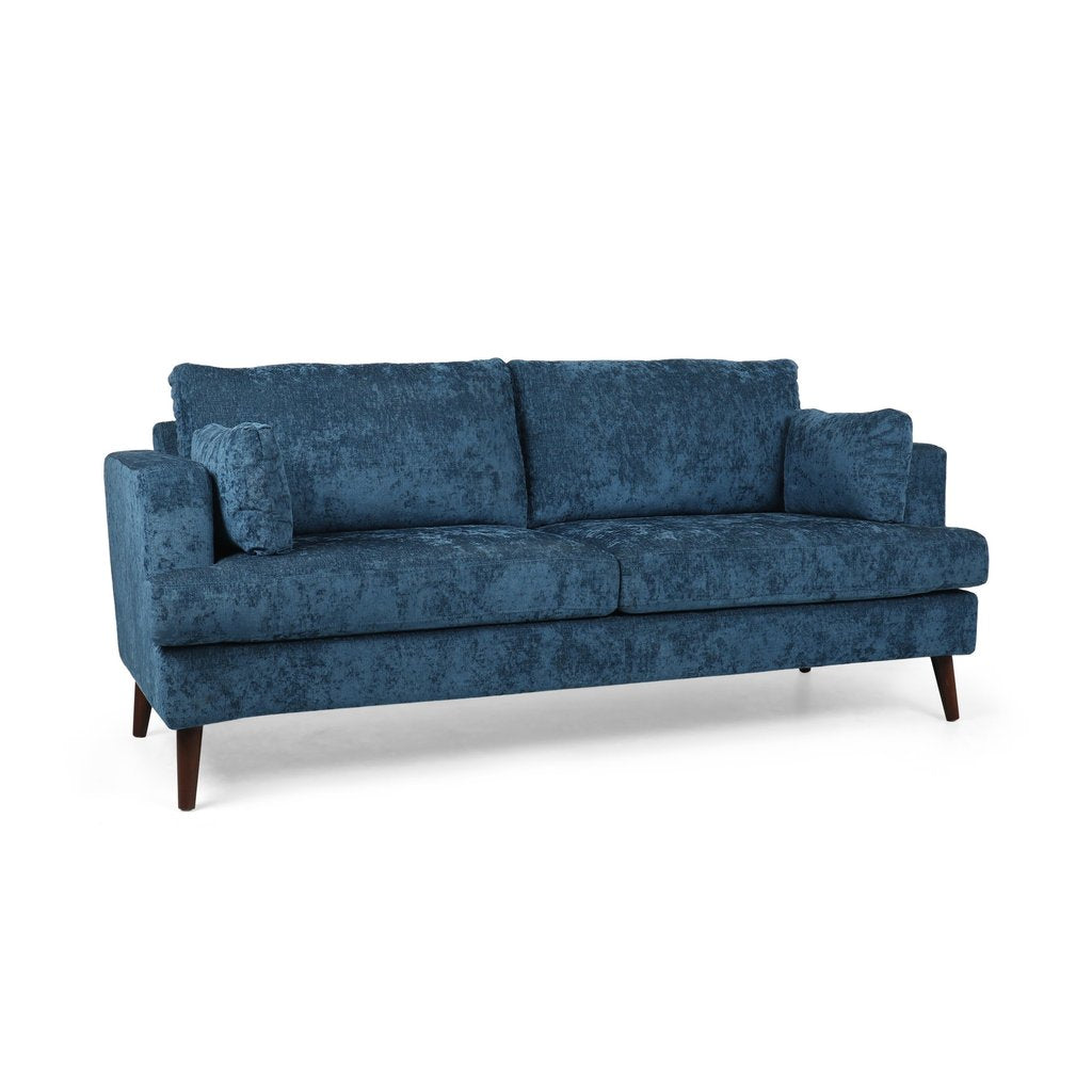 Contemporary 3 Seater Fabric Sofa in Navy Blue, Dark Chocolate, Light Gray