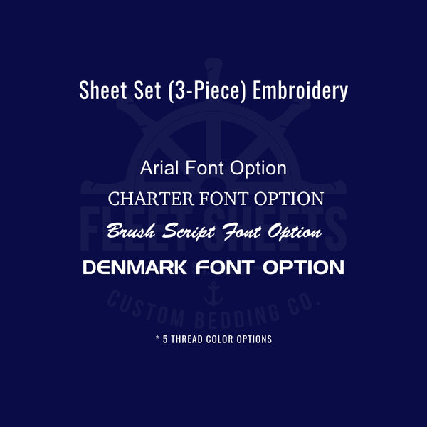 Embroidery Options | Fleet Sheets | Ship Rack Sheets