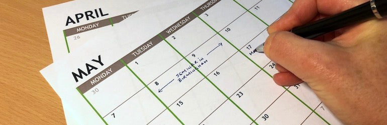 Use monthly calendars to help with planning