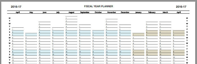 Fiscal or financial year planners