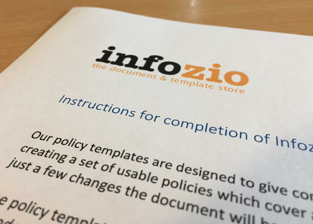 Instructions for completion of Infozio policy templates