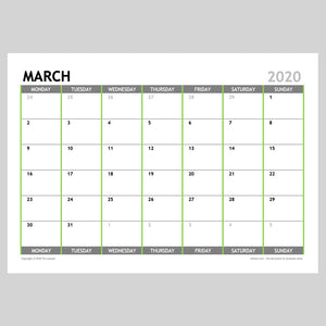 2020 Monthly Calendar Planner Download A4 or A3 (12 pages)