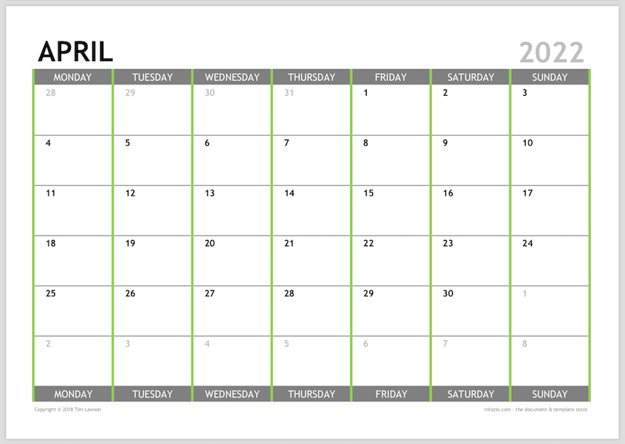 Monthly Calendar 2022.2022 Monthly Calendar Planner Download A4 Or A3 12 Pages Infozio