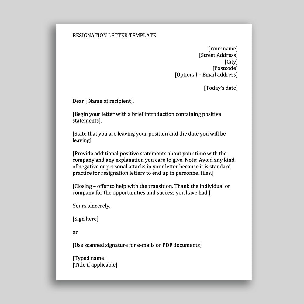Job Resignation Letter Template For Employees In MS Word