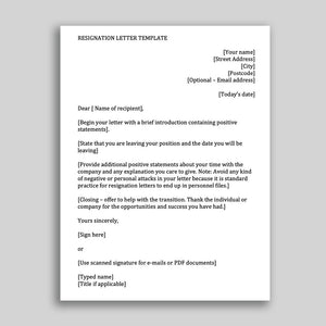 Job Resignation Letter Template for Employees in MS Word format