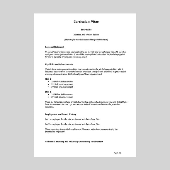 Functional CV template and example