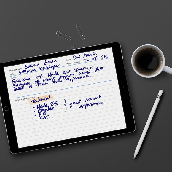 Interview Notes template for paperless use on iPad or tablet