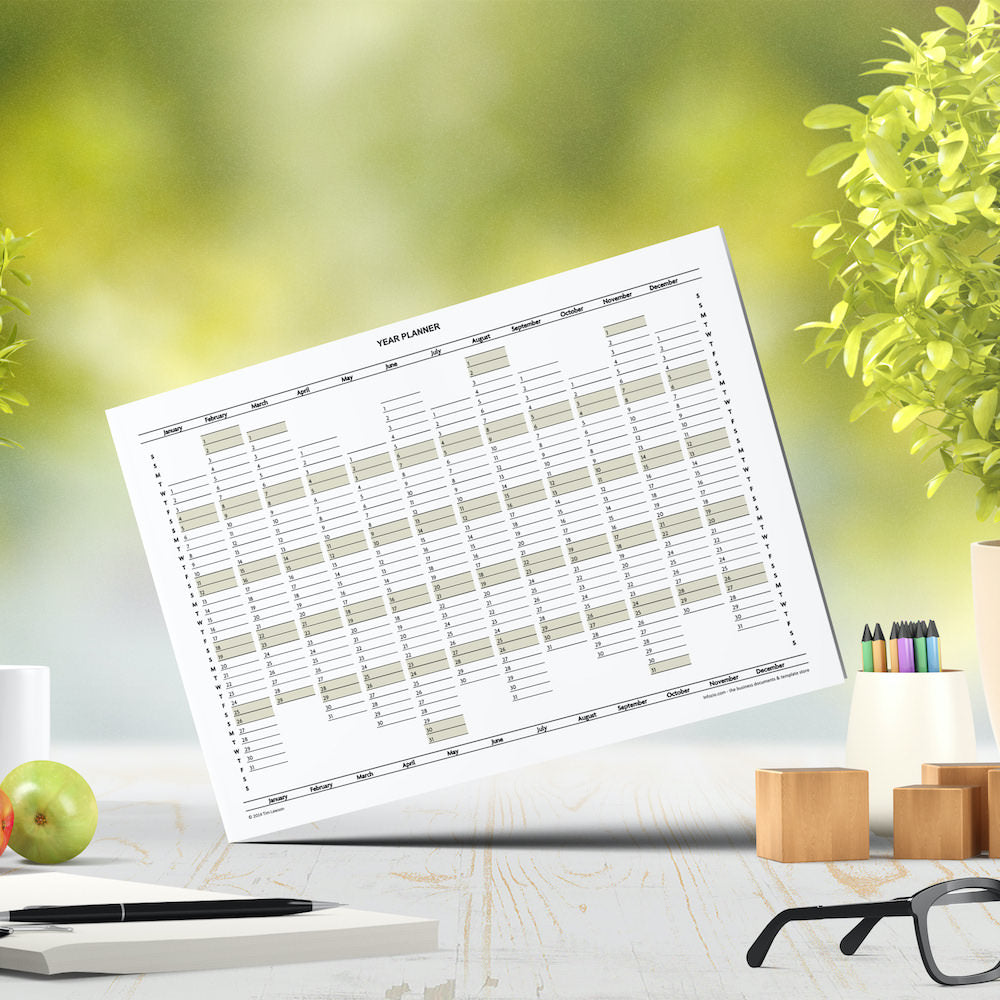 2022 Year Planner Calendar download for A4 or A3 print ...