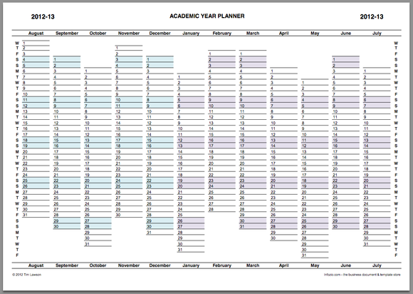 Academic Year Planner 2012-13