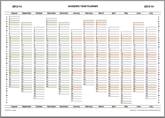 Academic Year Planner 2013-14