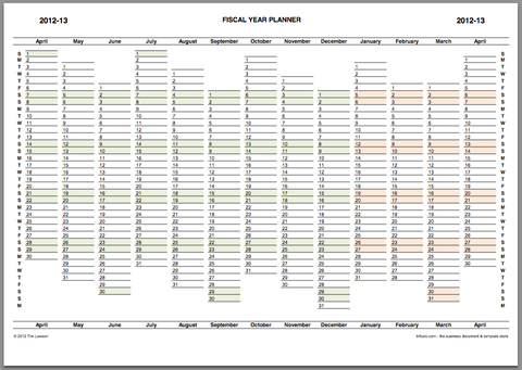 Fiscal Year Planner 2012-13