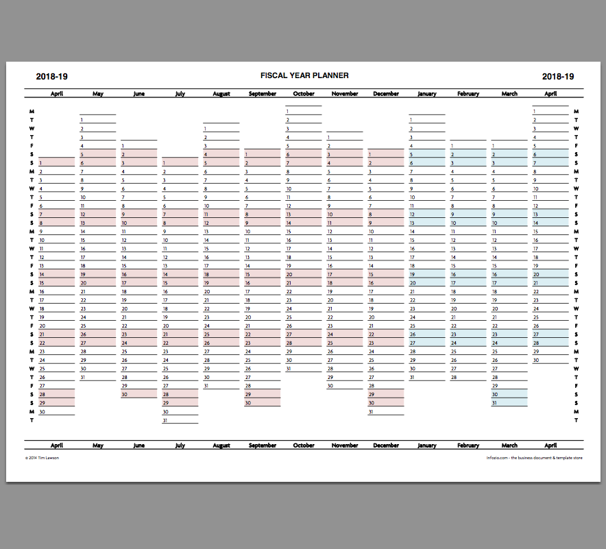 2018 19 Fiscal Year Planner Download Calendar Printable Infozio
