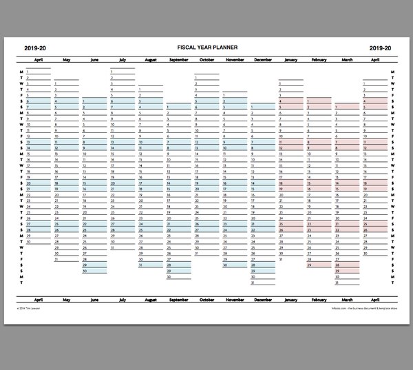 2019-20 Fiscal Year Planner download calendar printable ...