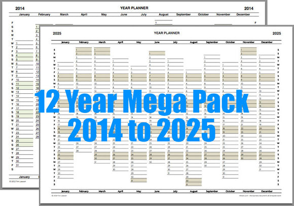Year Planner Calendar Mega Pack 2014 to 2025