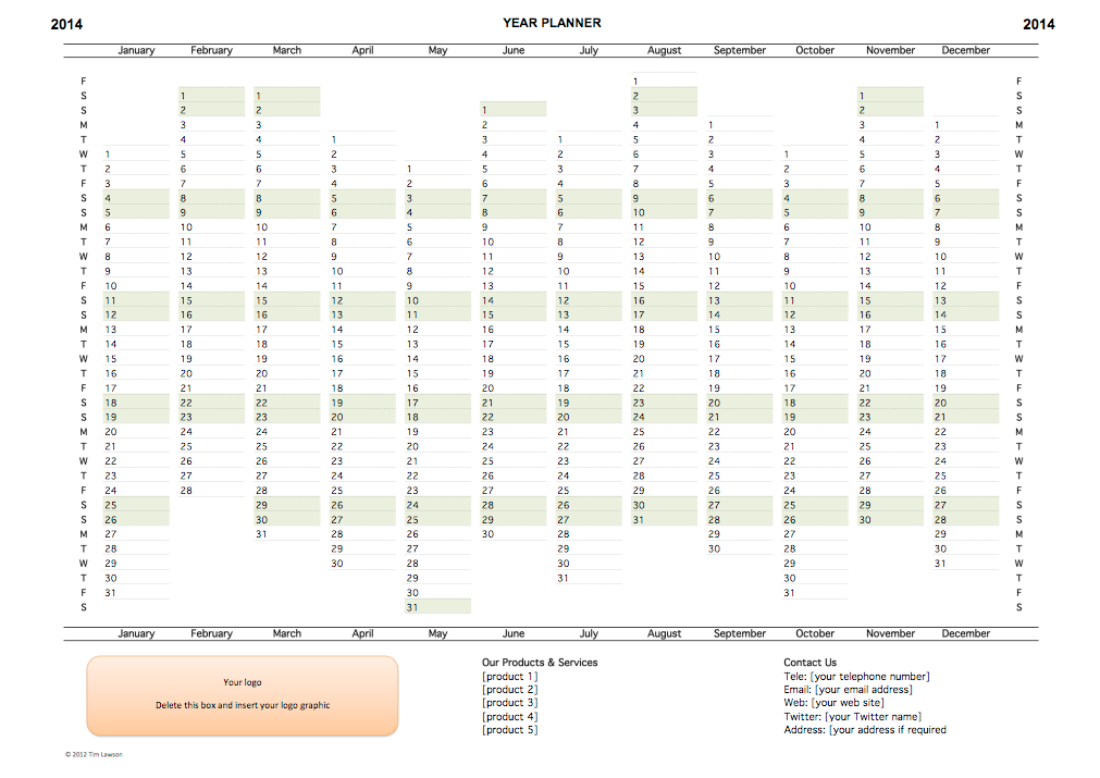 picture regarding Yearly Planner Template identified as 2014 12 months Planner Excel Template
