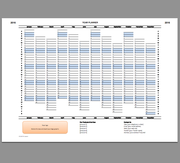2016 Year Planner Calendar Excel Template