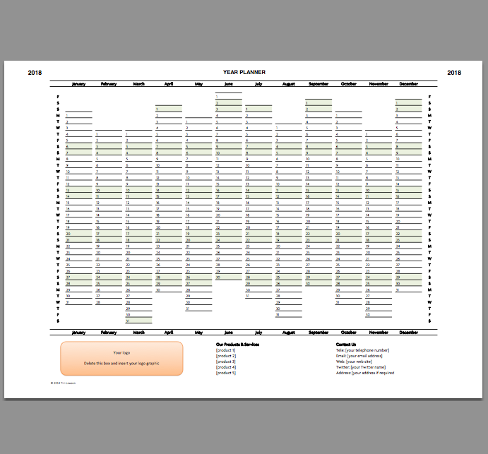 2018 Year Planner Excel Template