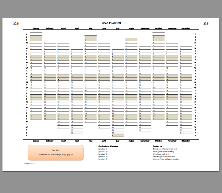 2021 Year Planner Excel Template