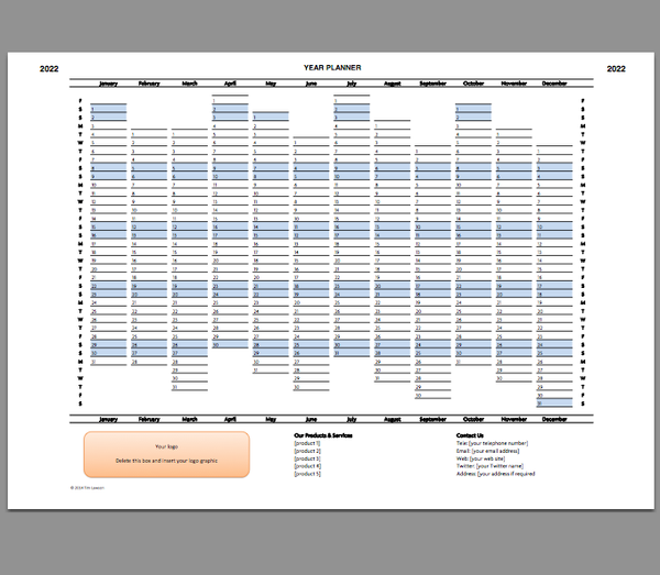 Year Planner Template 2022 Excel Printable File Infozio