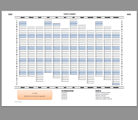 excel year planner template