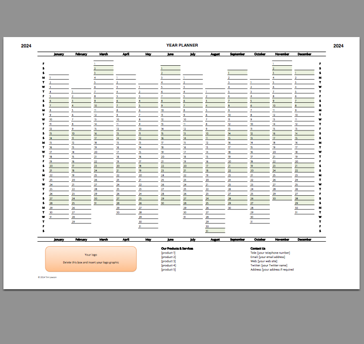 2024 Year Planner Excel Template