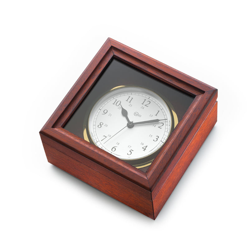 Brass Quartz Ship's Clock in Mahogany Box - Arabic Numerals