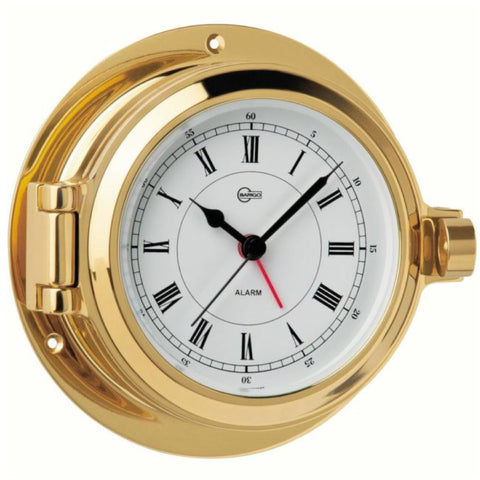 Poseidon Brass Porthole Quartz Ship's Clock with Alarm By Barigo