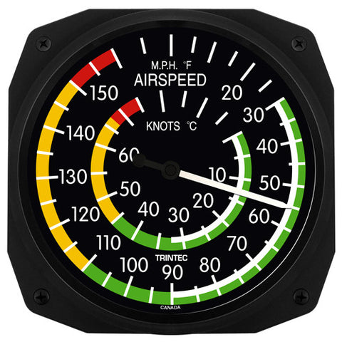 "10"" Classic Airspeed Instrument Style Thermometer - Trintec Industries Inc."
