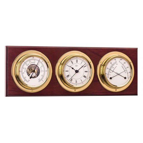 Horizontal Brass Weather Station w/ Ship's Barometer/Comfortmeter & Quartz Ship's Clock - Trintec Industries Inc.