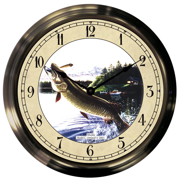 "14"" Jumping Musky Antique Brass Fishing Clock"