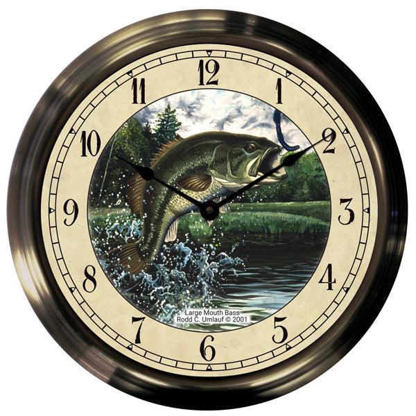 "14"" Largemouth Bass Antique Brass Fishing Clock"