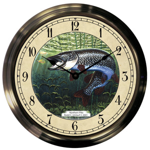 "14"" Northern Pike Antique Brass Fishing Clock - Trintec Industries Inc."