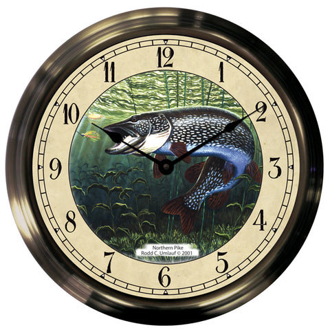 "14"" Northern Pike Antique Brass Fishing Clock"