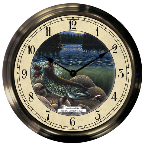"14"" Pike Antique Brass Fishing Clock"