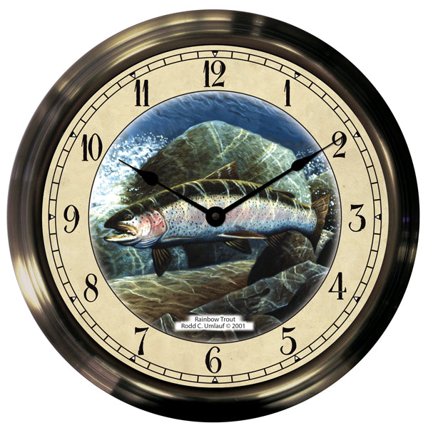 "14"" Rainbow Trout Antique Brass Fishing Clock - Trintec Industries Inc."