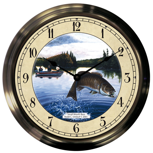 "14"" Smallmouth Bass Antique Brass Fishing Clock"