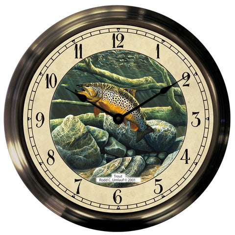 "14"" Underwater Trout Antique Brass Fishing Clock - Trintec Industries Inc."