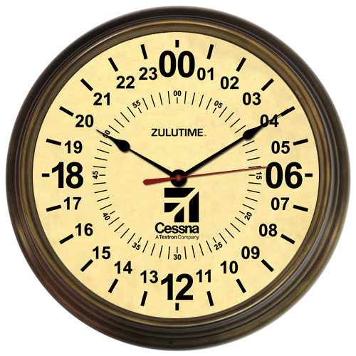 "14"" Cessna Antique Brass 24-Hour Clock (NEW)"