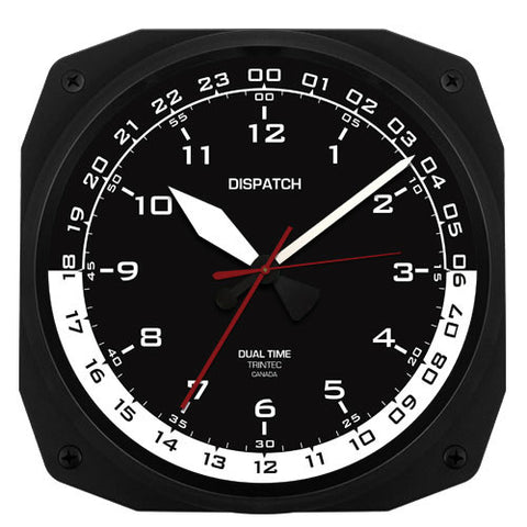 "10"" DISPATCH Dual Time Instrument Style Clock - Trintec Industries Inc."