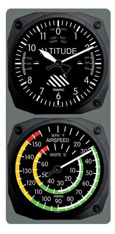 Classic Altimeter/Airspeed Clock & Thermometer Set - Trintec Industries Inc.