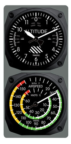 Classic Altimeter/Airspeed Clock & Thermometer Set