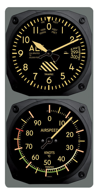 Trintec Vintage Altimeter Airspeed Clock /& Thermometer Set 9060V//9061VF
