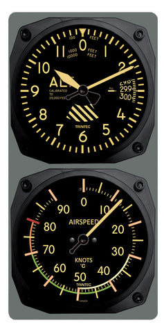 Vintage Altimeter/Airspeed Clock & Thermometer Set (°F or °C) - Trintec Industries Inc.
