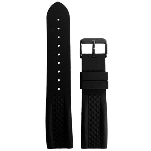 Black Silicone Rubber Watch Strap