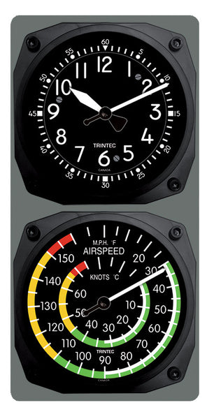 Classic Cockpit/Airspeed Clock & Thermometer Set