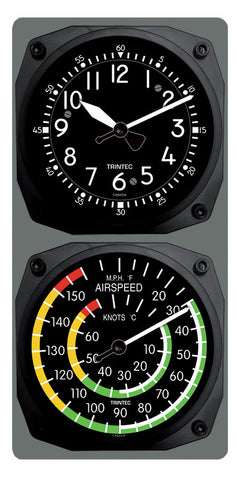 Classic Cockpit/Airspeed Clock & Thermometer Set - Trintec Industries Inc.
