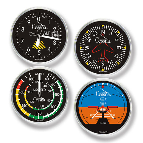 Cessna 4-Piece Round Acrylic Coaster Set - Trintec Industries Inc.