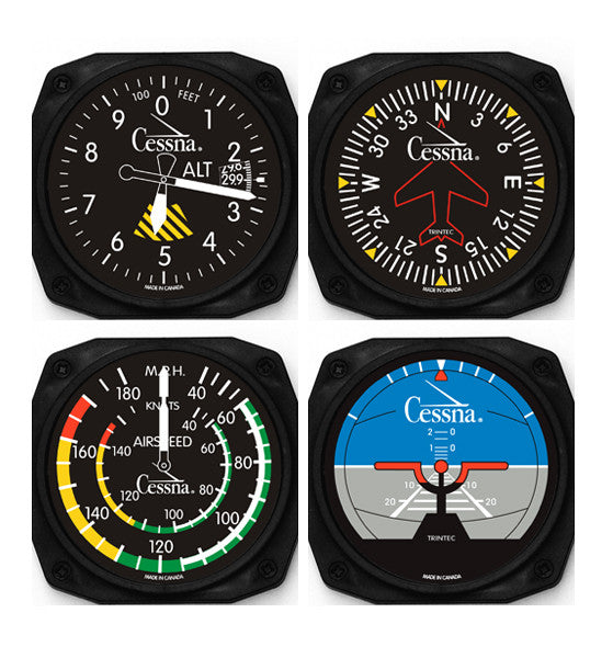 Cessna 4-Piece Instrument Coaster Set - Trintec Industries Inc.