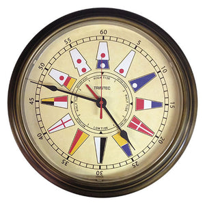 "14"" Brass Finish Nautical Flag Time & Tide Clock - Trintec Industries Inc."